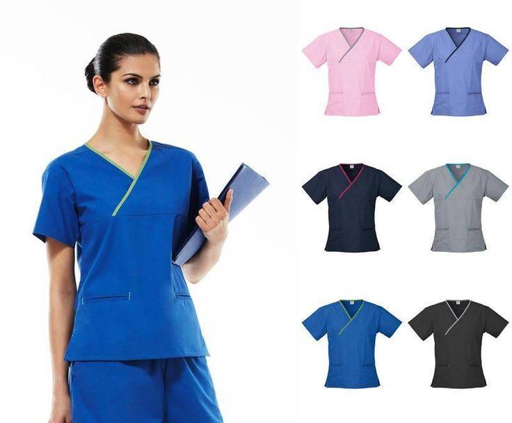 Ladies Crossover Scrub Top H10722 | Medical Dental Scrubs, Health Beauty Uniform