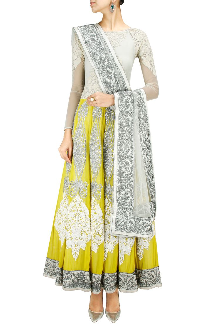 yellow and ivory embroidered anarkali.