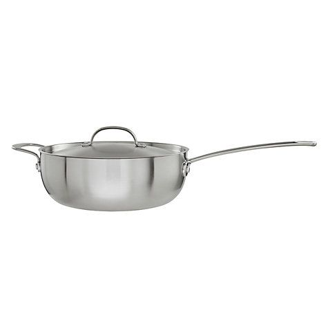 John Lewis 3-Ply Chef's Pan With Helper Handle, 26cm Online at johnlewis.com