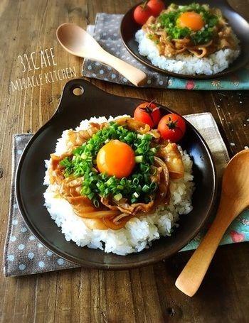 甘辛く炒めた豚肉に、ネギをたっぷり、さらに卵黄もトッピング♪栄養バランスもばっちりな丼メニューです。ひとりランチや週末ランチにもいいですね。