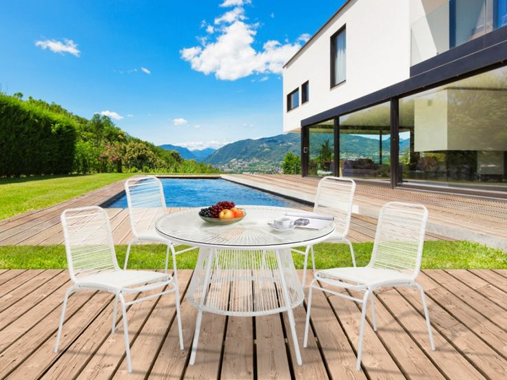 Polyrattan Gartenmöbel Essgruppe Kelios: 1 Tisch + 4 Stühle (5-tlg.)