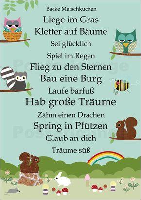 Poster Hab große Träume mit Tieren