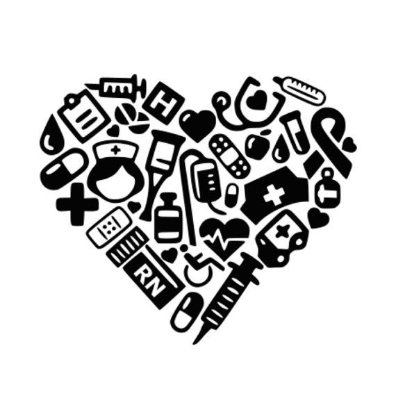 SVG - RN Collage Heart - DXF - Nurse svg - Medical - Lpn - Nurse Heart - Nurse's Cap - Nurse Tshirt - Nursing - Stethoscope