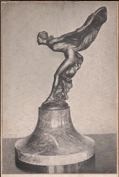 """The Spirit of Ecstasy"", 1911. This one is 28 inches high and reportedly was on display at the Rolls Royce HQ in NYC at time of the photo.  https://en.wikipedia.org/wiki/Spirit_of_Ecstasy"