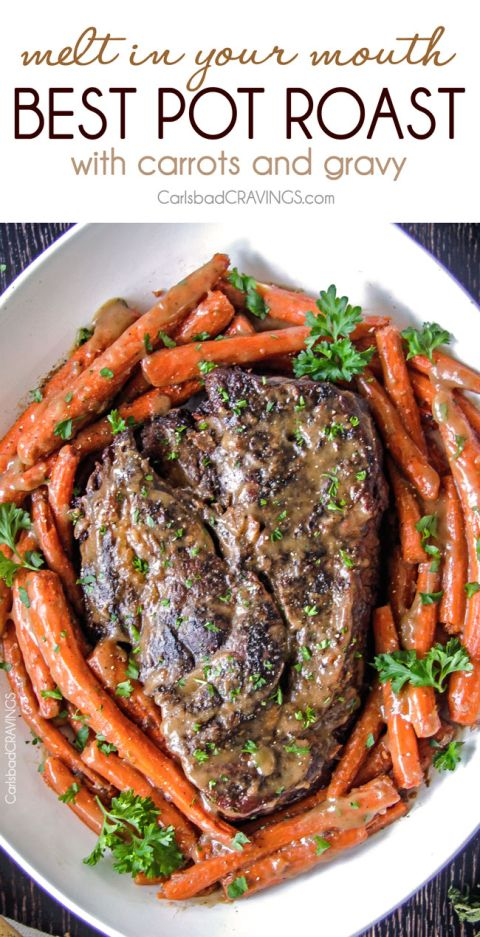 Melt in your mouth pot roast and carrots with for Best gravy for lamb