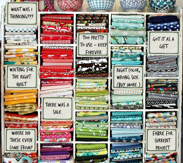 Funny fabric stash storage via @FaveQuilts!