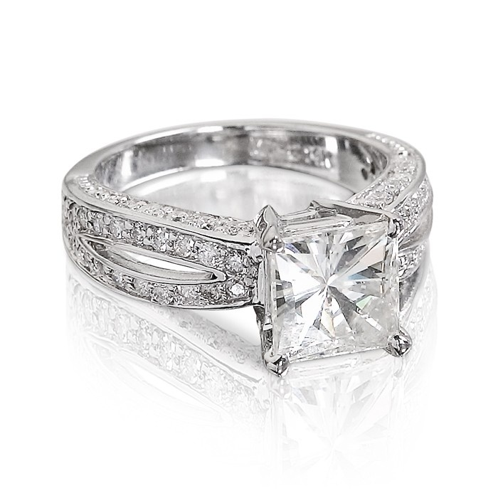 Emmanuelle's Collection - 2.95ctw Square Brilliant Moissanite Solitaire Vintage Ring with Round Brilliant Pave, 14K White or Yellow Gold - engagement rings - rings - shop