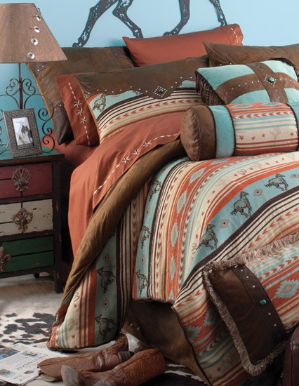 Flying Horse Western Bedding I like this but would prefer more neutral colors than the blue and the red