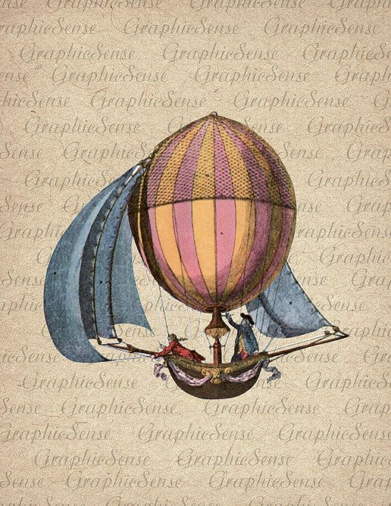 Retro Aerostat  Hot Air Balloon  Printable by GraphicSense on Etsy, $1.00