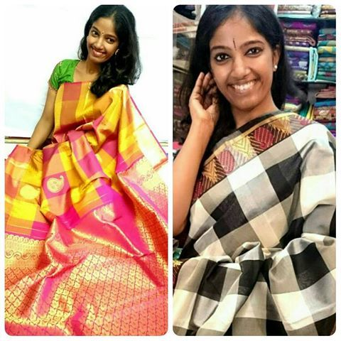 Checks mania! Black and white or pink and yellow? Book your choice now 91 9821054556 Sri Padmavathi Silks, the only South Indian store in Dombivli, India. Kancheepuram Silk Sarees in Mumbai. International shipping available. Wholesale orders accepted. #saree  #sareesonline  #sareeshopping  #shopping  #checks  #bnw  #black  #white  #pink  #yellow  #silksaree  #beautiful  #fashionista  #fashion  #love  #bride  #engagement  #godhbharai  #familyfunction  #wedding  #indianwear  #indianfashion