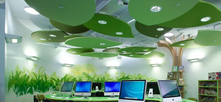 Ecophon solo freedom suspended acoustic panels, resembling leaves