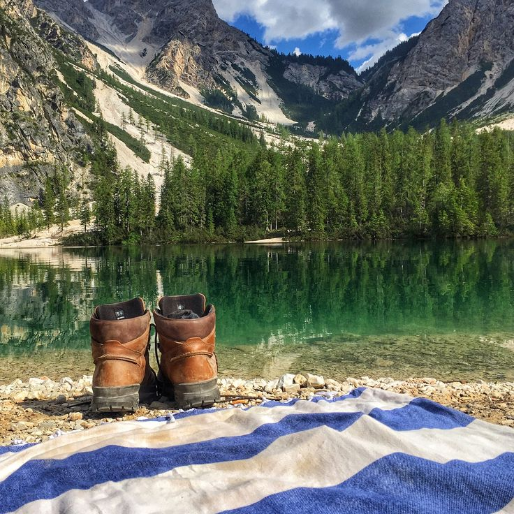It's time to cool off! Lago di Braies, Italy #turkishtowels #italy #lagodibraies