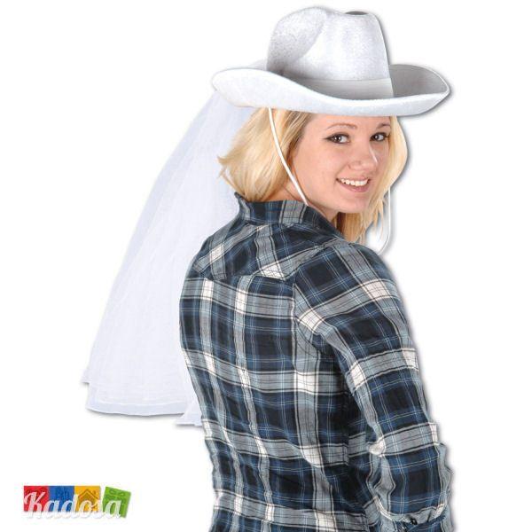 21,50+5,50 kadosa Cappello Cowgirl con VELO Sposa vellutino BIANCO Addio Nubilato Scherzo Festa