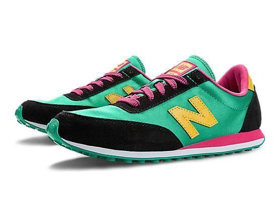 New Balance 410 Mujer/Hombre Clásicos Mint Leaf Amarillas Rosa Glo Zapatos Unisexo