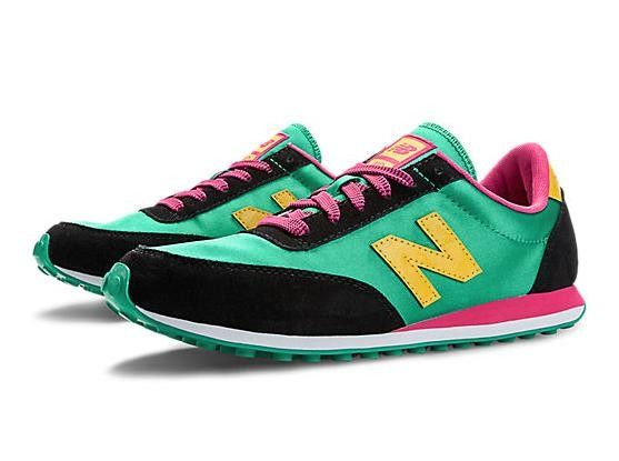 New Balance 410 Mujer/Hombre Clásicos Mint Leaf Amarillas Rosa Glo Zapatos Unisexo