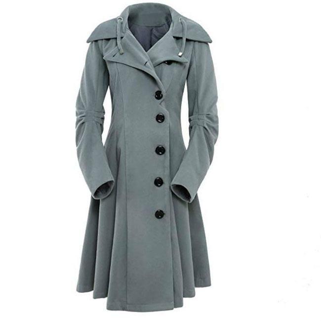 Coat Trench Winter Jacket Long Woolen Womens Blazer Overcoat Ladies Size S-3XL