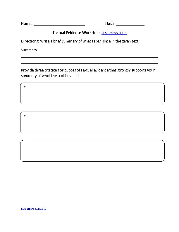 8th Grade Common Core | Reading Literature Worksheets ...