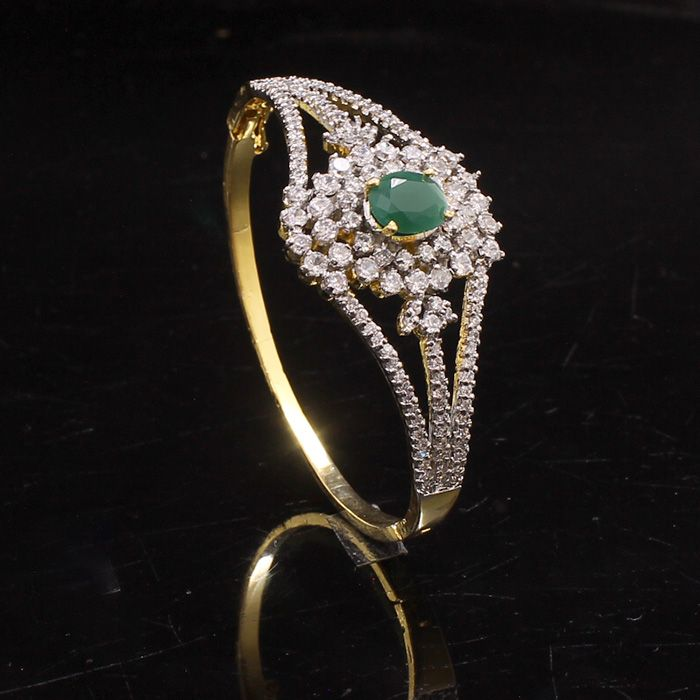 1 Pc Two Tone Cz Simulated Emerald Green Bangle Bracelets 2.4
