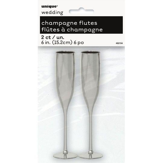 Silver Plastic Champagne Flute Favors, 2ct
