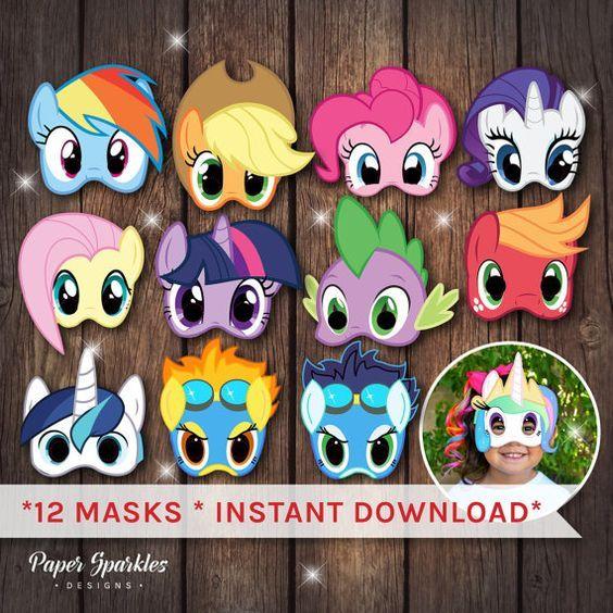 Mis máscaras de pony poco mi pequeña fiesta por PaperSparkleDesigns