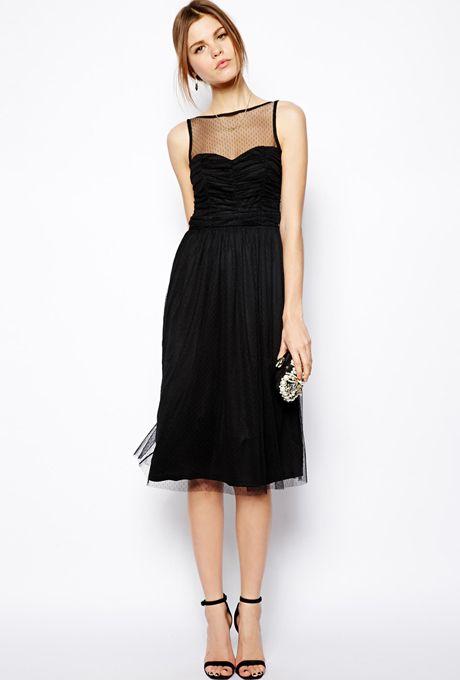 Brides.com: Affordable (and Stylish!) Bridesmaid Dresses Under $100 . Prom mesh midi dress, $84.69, ASOS  See more illusion neckline bridesmaid dresses.