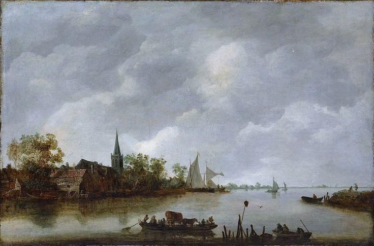 Стиль Яна ван Гойена - Вид на реку с Деревенской церковью. часть 3 Музей Метрополитен