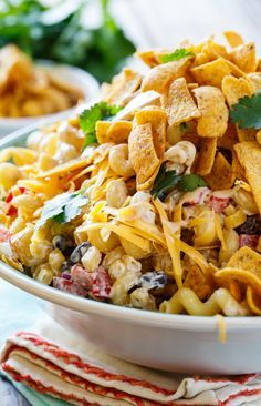 BBQ Ranch Pasta Salad with chicken and crunchy corn chips. Easy to make with @HVRanch new Honey BBQ Dressing @walmart #ad