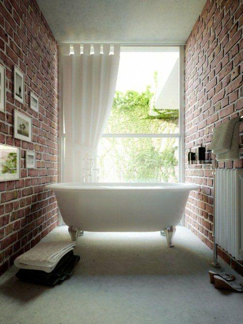 Exposed brick walls in white bathroom. http://www.kenisahome.com/blog/kenisa-tips-ins/exposedbrick/
