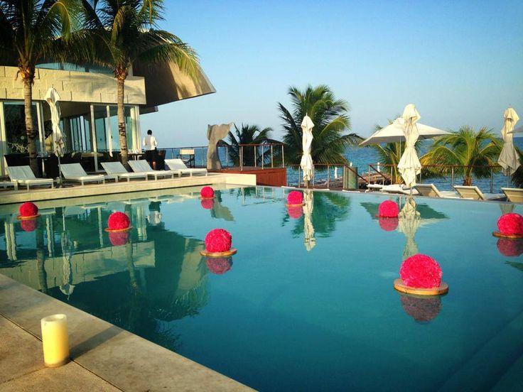 CBA132  Riviera Maya weddings / Bodas alberca decorada con pomanders de clavel / floating floral balls