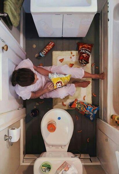 Refuge (artist: Lee Price) Fridge raiding when the diet fails spectacularly ?