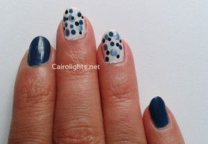 blue dots manicure