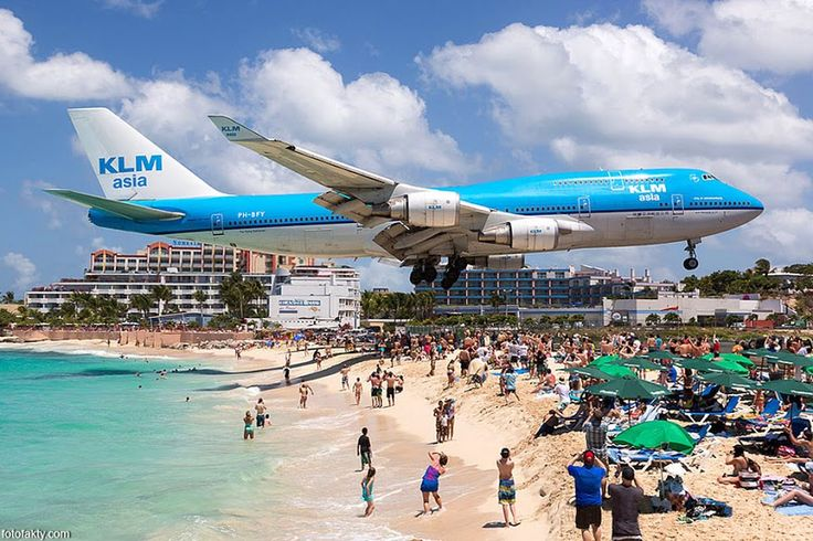 This is a typical view at Maho Beach in St. Maarten ...