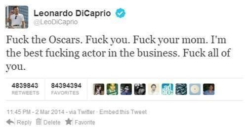 Leo's first tweet after the Oscars party.