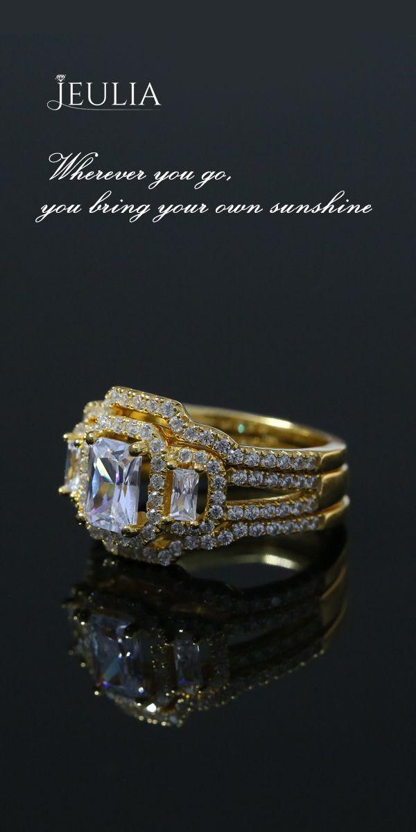 3PC Halo Yellow Gold 1.0CT Emerald Cut Created White Sapphire Wedding Set #Jeulia