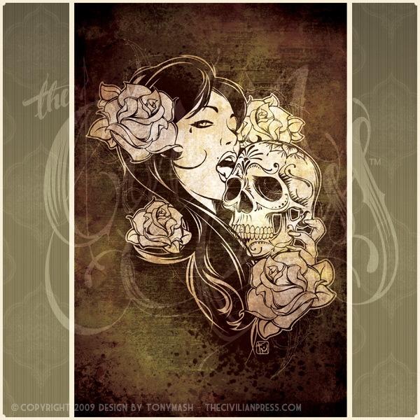 Image of Skull Lick Art Print 12x18, Frame Optional