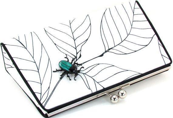 Black and White Clutch Purse  Teal Beetle White Evening by BagBoy, $125.00