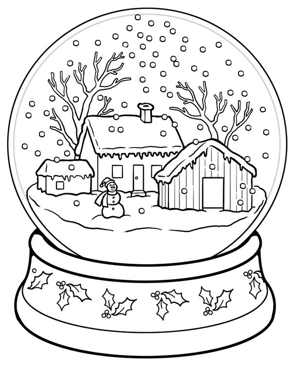 Snow Globe Coloring Page Coloring Pages Winter Coloring Books