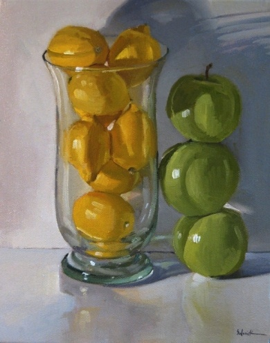 Green Apple Stack framed fine art still life food fruit kitchen decor commission custom painting, painting by artist Sarah Sedwick