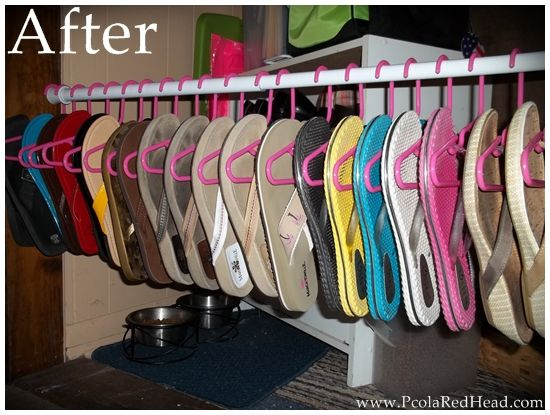 Kid's clothing hangers to hang flip flops. I like this better than using the bent metal hangers I have now. Plus I can get pink! :)
