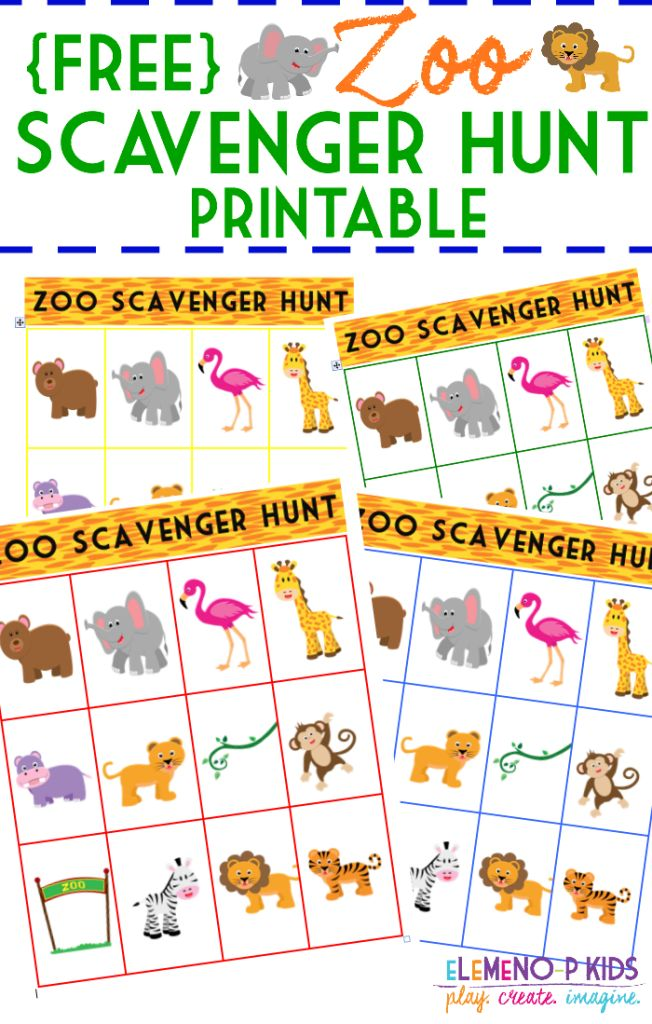 Intrepid image with zoo scavenger hunt printable