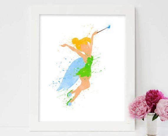 Nursery prints, Girls prints,Disney Tinkerbell, Fairy print, Baby girls nursery,Watercolor print, Room Decor, Girls decor