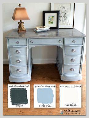 Colorways with Leslie Stocker » Kneehole Desk. Annie Sloan Chalk Paint®. Louis Blue. Pure White. Graphite. Rub & Buff Silver.