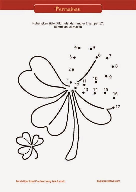lembar bermain sambil belajar untuk PAUD : menghubungkan angka sambil mewarnai bunga