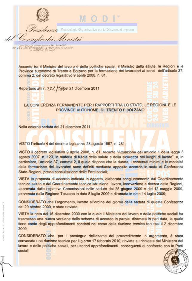AGGIORNAMENTO E FORMAZIONE DEI DATORI DI LAVORO, LAVORATORI, PREPOSTI, DIRIGENTI - Accordo Conferenza Stato Regioni - articoli 34 e 37 del D. Lgs. n. 81/2008
