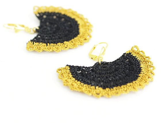 Crochet Lace Earrings in Gold Black Boho Chic by PinaraDesign
