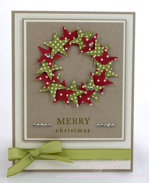 Cute! Use cut-outs of stars, hearts, flowers, or other shapes to build the wreath. Decorate wreath with tiny pearls or rhinestones and embellish rest of card with seasonal trimmings. Make wreath heart shaped for Valentine or wedding/anniversary card.