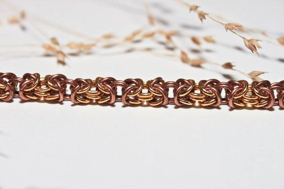 Harmony|Byzantine chain| copper|tarnished Brass| handmade