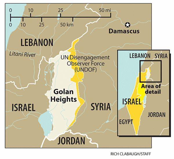 ALTOS DEL GOLÁN: LA CUÁDRUPLE FRONTERA. Domina: Este: Galilea y mar de Galilea (Israel) Oeste: Siria (Sur y Damasco)  Norte: Líbano Sur: Norte de Jordania  Israel(Galilea y mar de Galilea) , Síria (Damasco)