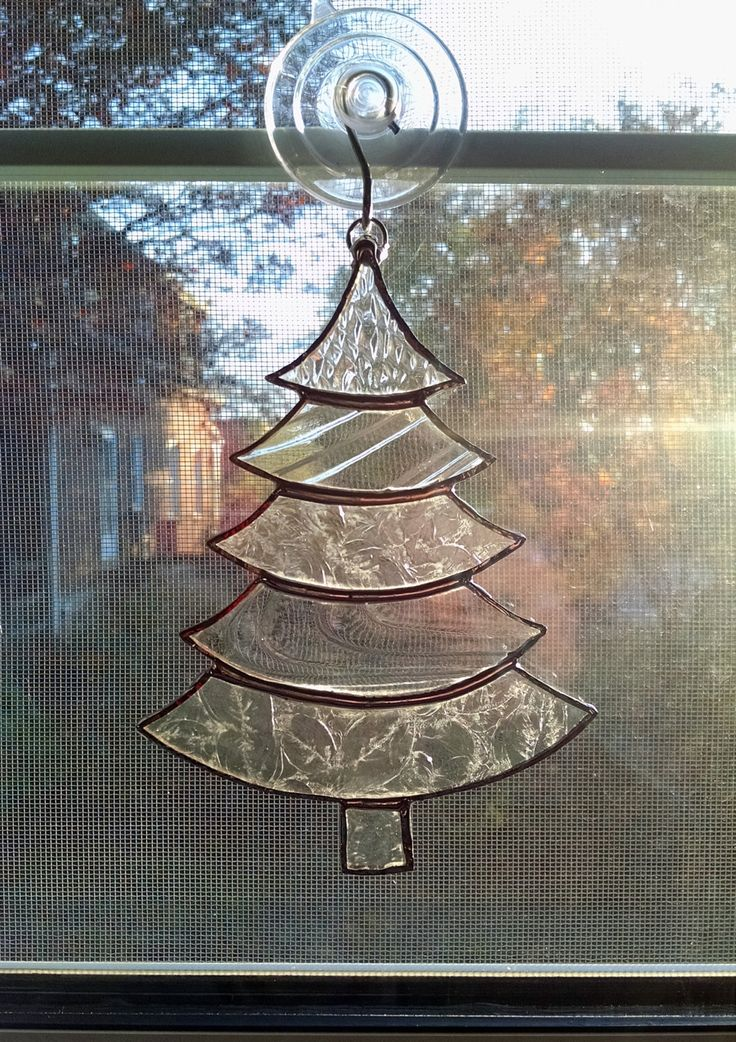Christmas Tree Ornament - Stained Glass Tree Suncatcher - Clear Glass - Holiday Decor - Christmas Gift - Stocking Stuffer by StainedGlassYourWay on Etsy