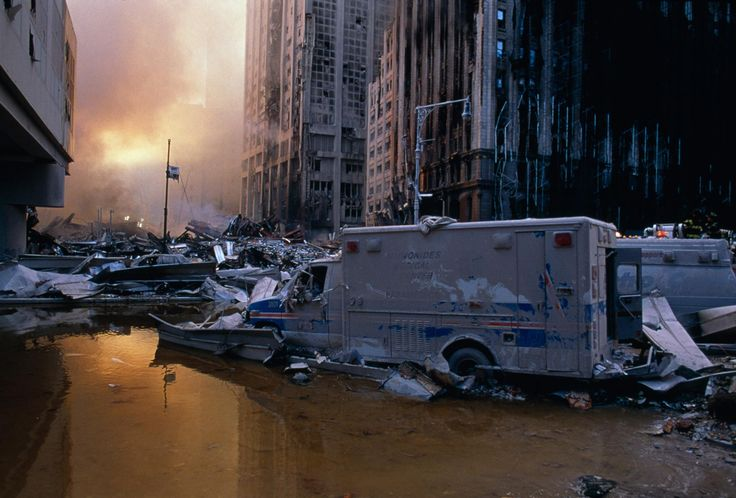 September 11, 2001 | Steve McCurry.  It's almost like one of those scenes from a action movie, complete devastation. His eye for detail is incredible.